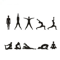 Vinyl Wall Decal Sticker Yoga Poses Silhouette Position Mariposas Pegatinas Paredes Wall Stickers Home Decor Living