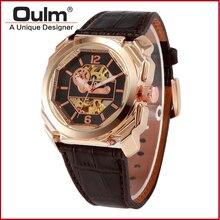 Розовое золото уникальный дизайн большой лицо мода часы oulm сплава механические часы с неподдельный кожаный пояс