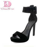DoraTasia 2018 Hot Sale Wholesale Thin High Heels Sexy Black Pink Summer Shoes Woman Sexy Plus