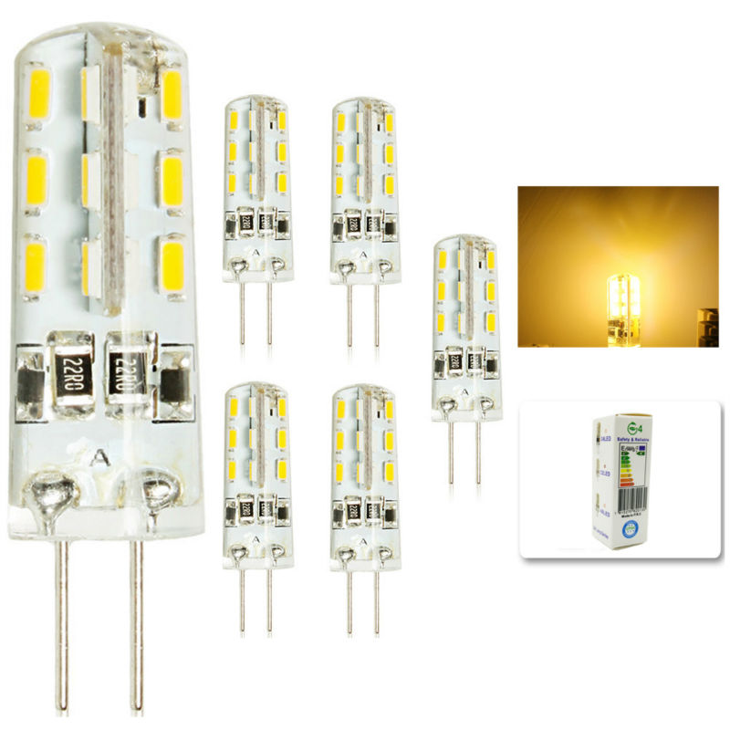 5 pcs/lot <font><b>G4</b></font> DC12V <font><b>3W</b></font> <font><b>LED</b></font> Bulb 24leds SMD 3014 <font><b>Led</b></font> Corn Lamp for Crystal Lamp <font><b>LED</b></font> Spotlight Bulbs Warm/Cold White image