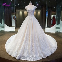Fmogl Glamorous Appliques Royal Train A-Line Wedding Dresses 2019 Luxury  Beaded Scoop Neck Princess f3dc39c93a99