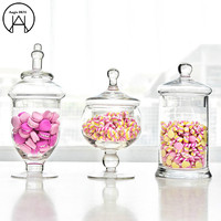 Continental Tall Glass Covered Candy Storage Tank Candy Jar Glass Jars Sugar Bowl Glass Bottles mason Jar Wedding decoration