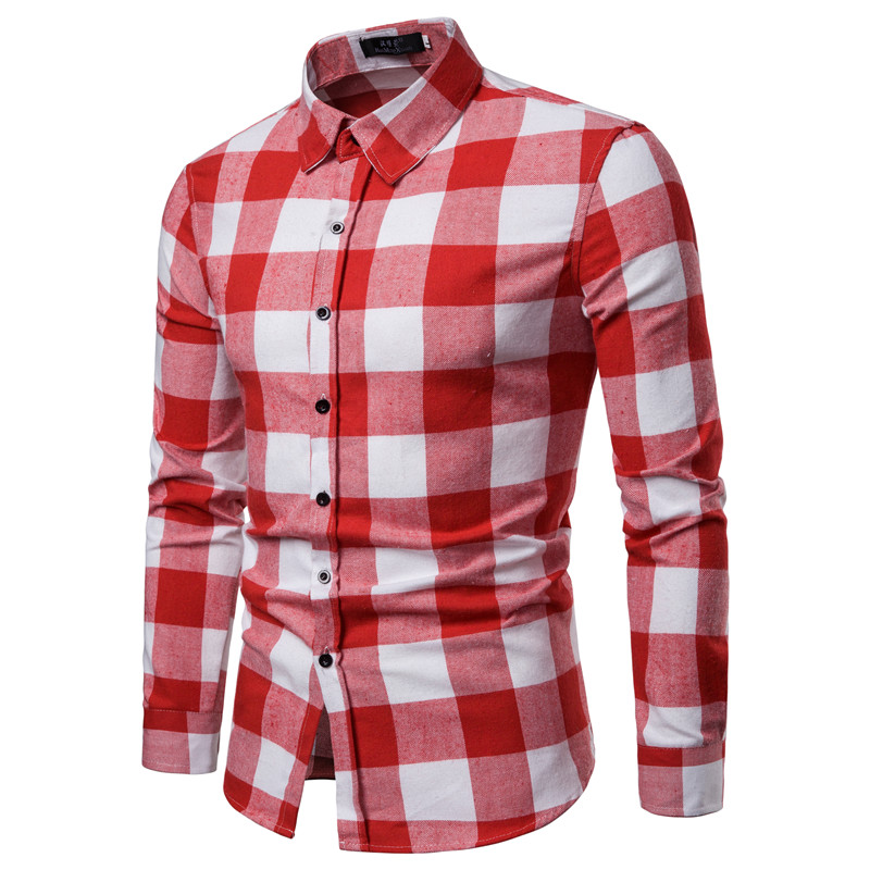 Summer White Red Checkered Casual Shirts Men Shirts Long Sleeve Camisa Masculina Chemise Homme Cotton Male Check Shirts