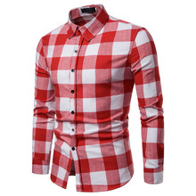 Summer White Red Checkered Casual Shirts Men Shirts Long Sle