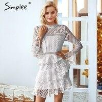 Simplee Elegant white women dress plus size Vintage o neck 2018 autumn winter dress Flare sleeve ladies lace dress party festa