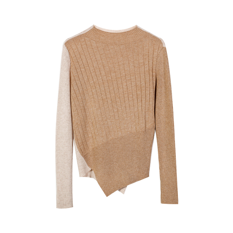 2018 De Femmes Tricots Automne Roulé Capot couleur Irrégulière Couture Longues Deux Moitié Manches Pull Top P607 fHxxr5SqEw