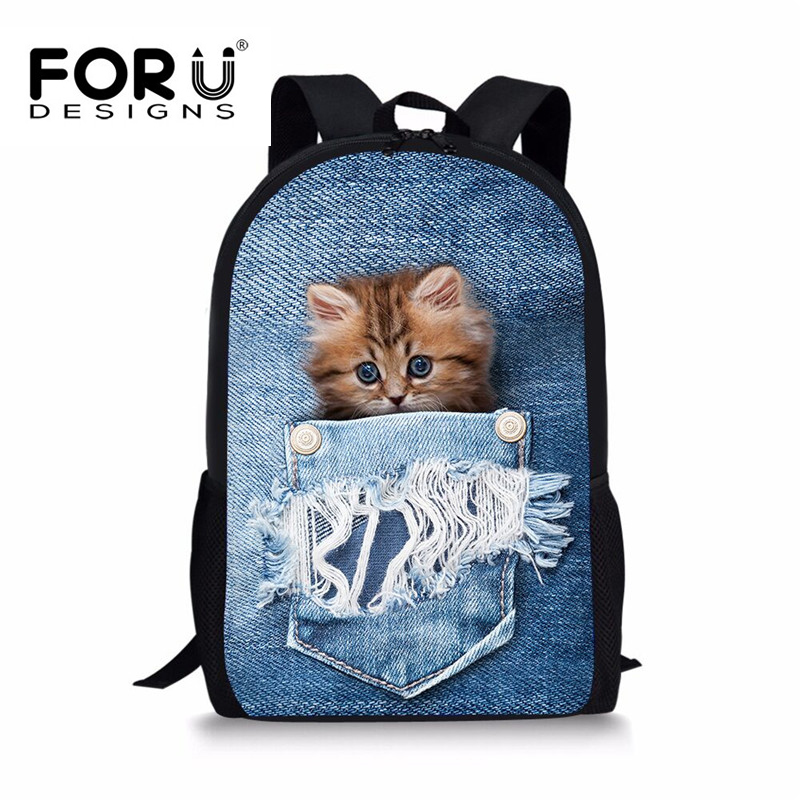 FORUDESIGNS Denim Cat Printing Rucksack für Teenager Mädchen Jungen, Kinder Bagpack Zurück zur Schule