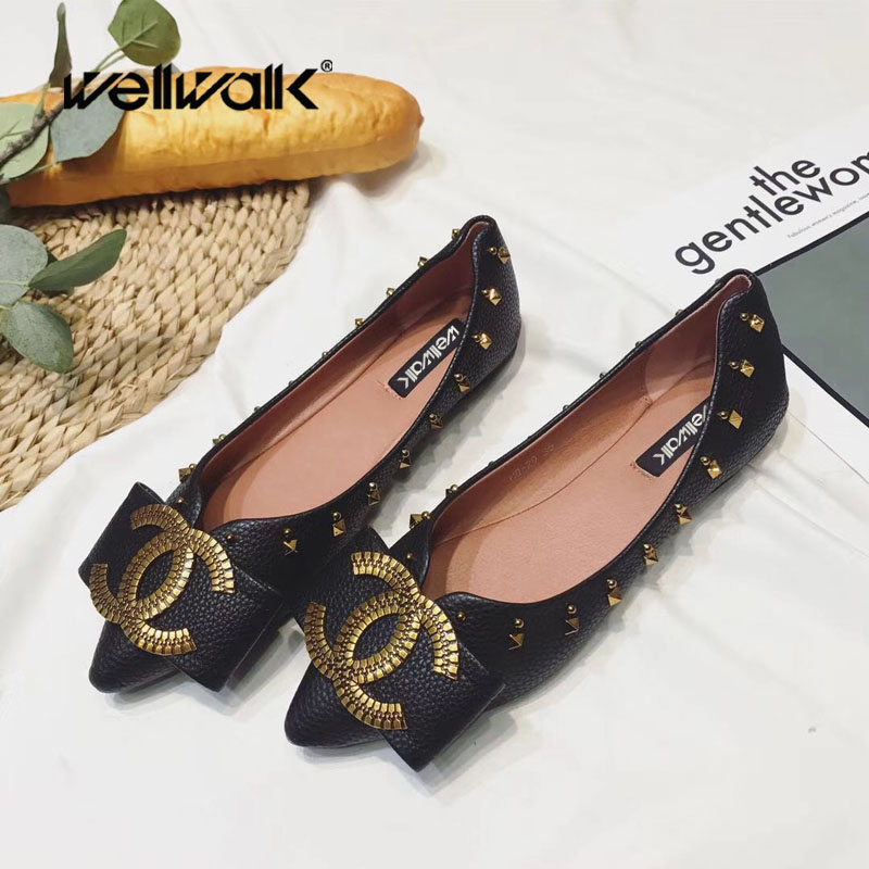 New Trend C Letters Buckle Ballet Flats Shoes Women Casual Flats Shoes Ballerinas Ladies Rivet Sides Slip On Casual Shoes summer women ballet flats mary jane shoes buckle strap black casual wedges shoes ladies anti slip slip on flat sapato feminino