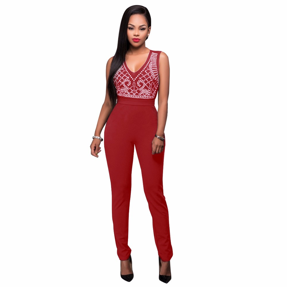 2017 New Summer Women Jumpsuit Bandage Black Bodysuit V-Neck Sleeveless Print Zipper Back Sexy Bodycon Jumpsuits And Rompers 14
