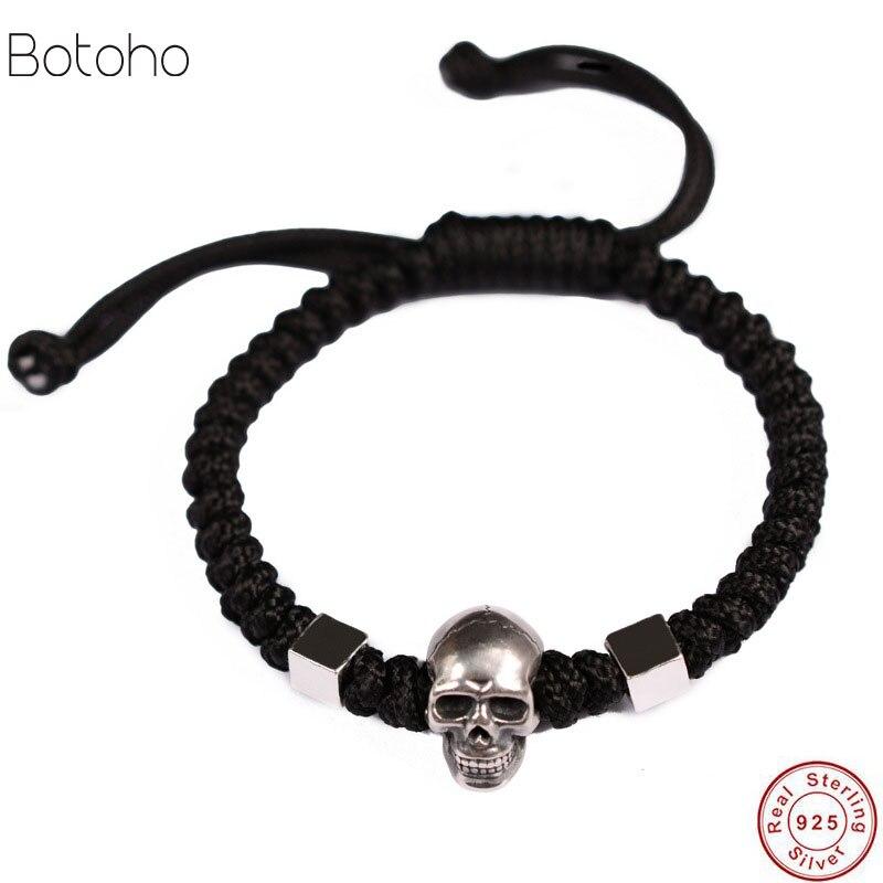 Real 999 Silver Bracelet Men Vintage Skull Rope Mens Bracelets Sterling Silver Jewelry Woven Women Bracelet