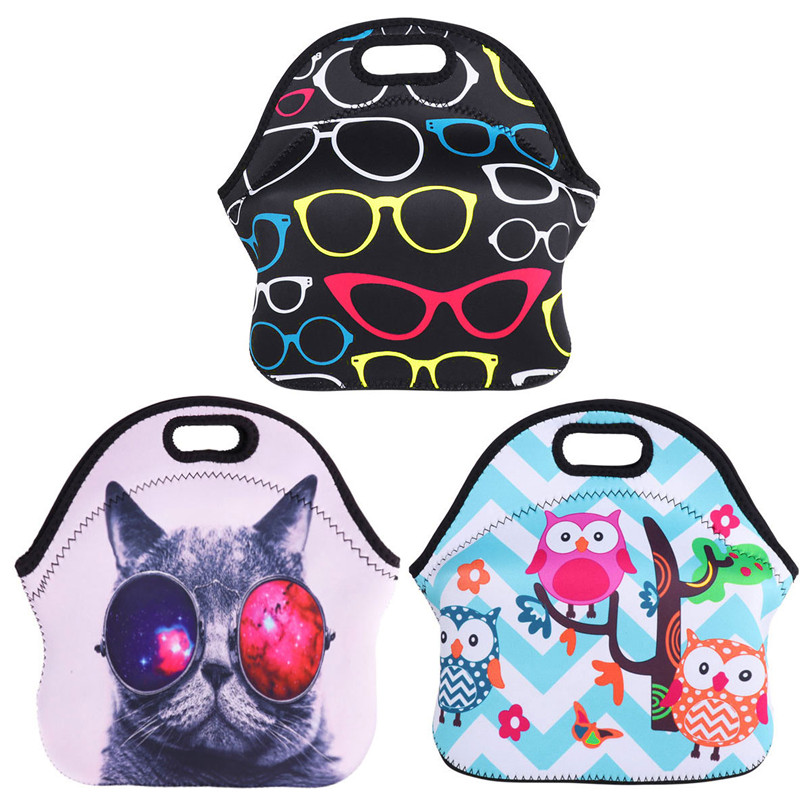 New Fashion Reusable Neoprene Soft Insulated Thermal Lunch Boxes Carry Case Bag Handbags Tote with Zipper for School Work Office