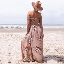 Off Shoulder Floral Print Summer Long Dress