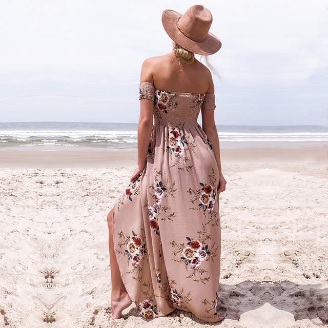 2781dcba71f5 Boho style long dress women Off shoulder beach summer dresses Floral print  Vintage chiffon white maxi