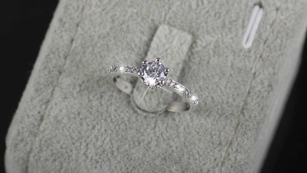 2018 новый дизайн, модные ювелирные изделия, роскошные женские обручальные кольца из стерлингового серебра 925 пробы, 5А, циркониевые обручальные кольца с короной