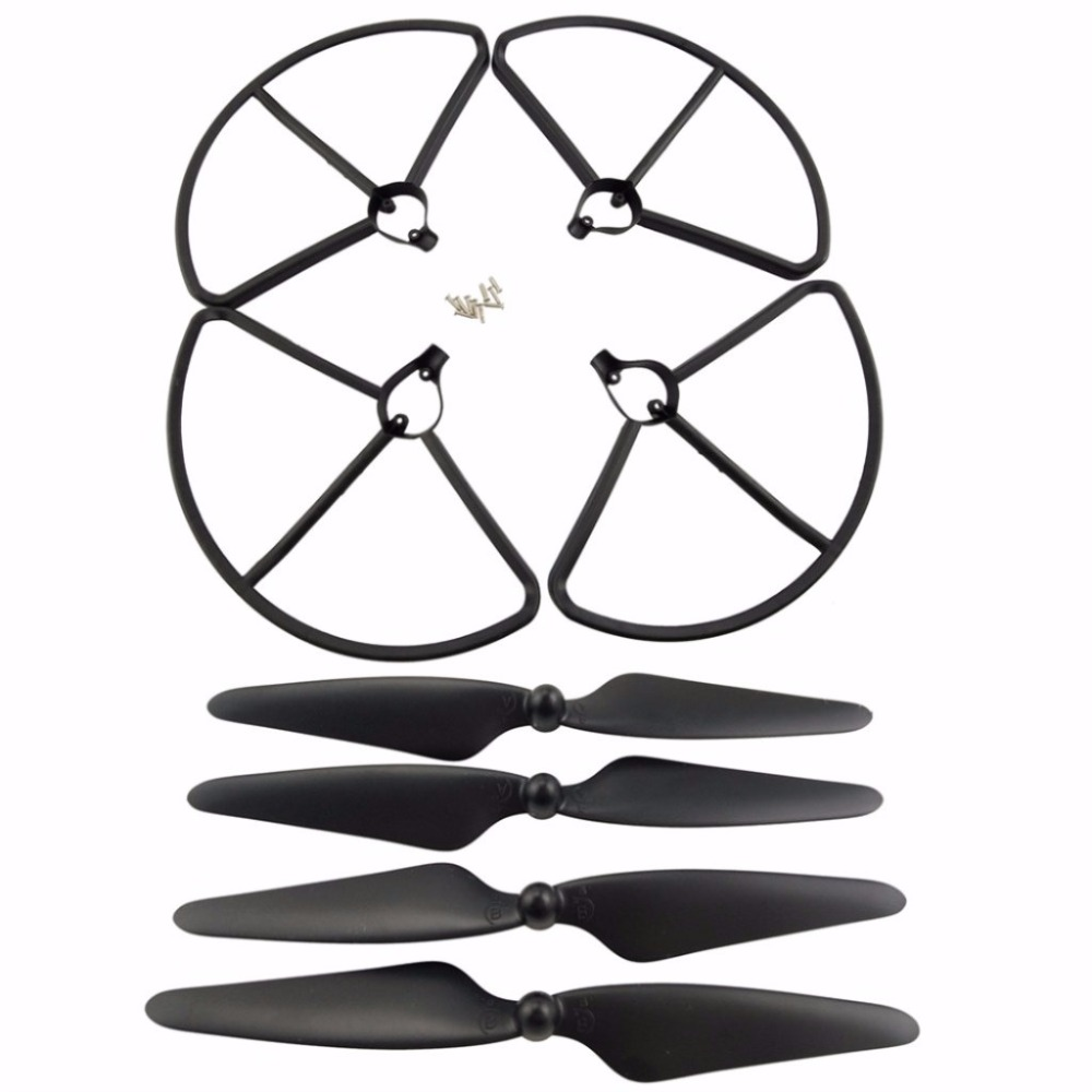 2 Pairs CW/CCW Blades & 4PCS Protection ring for Hubsan H501S <font><b>H501A</b></font> H501C H501M H501S W H501S pro RC helicopter Black image