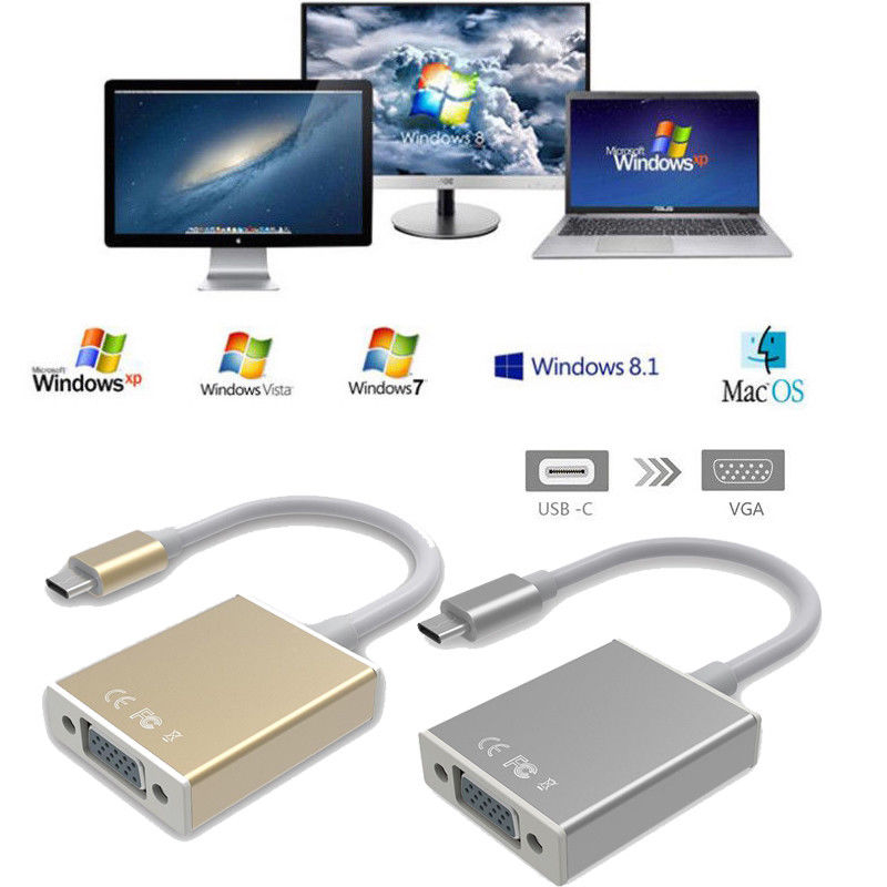Mayitr 1pc USB 3.1 Type C Male To VGA Female Converter 2 Colors HD 1080P USB3.1 Type-c to VGA Adapter For Chromebook Macbook