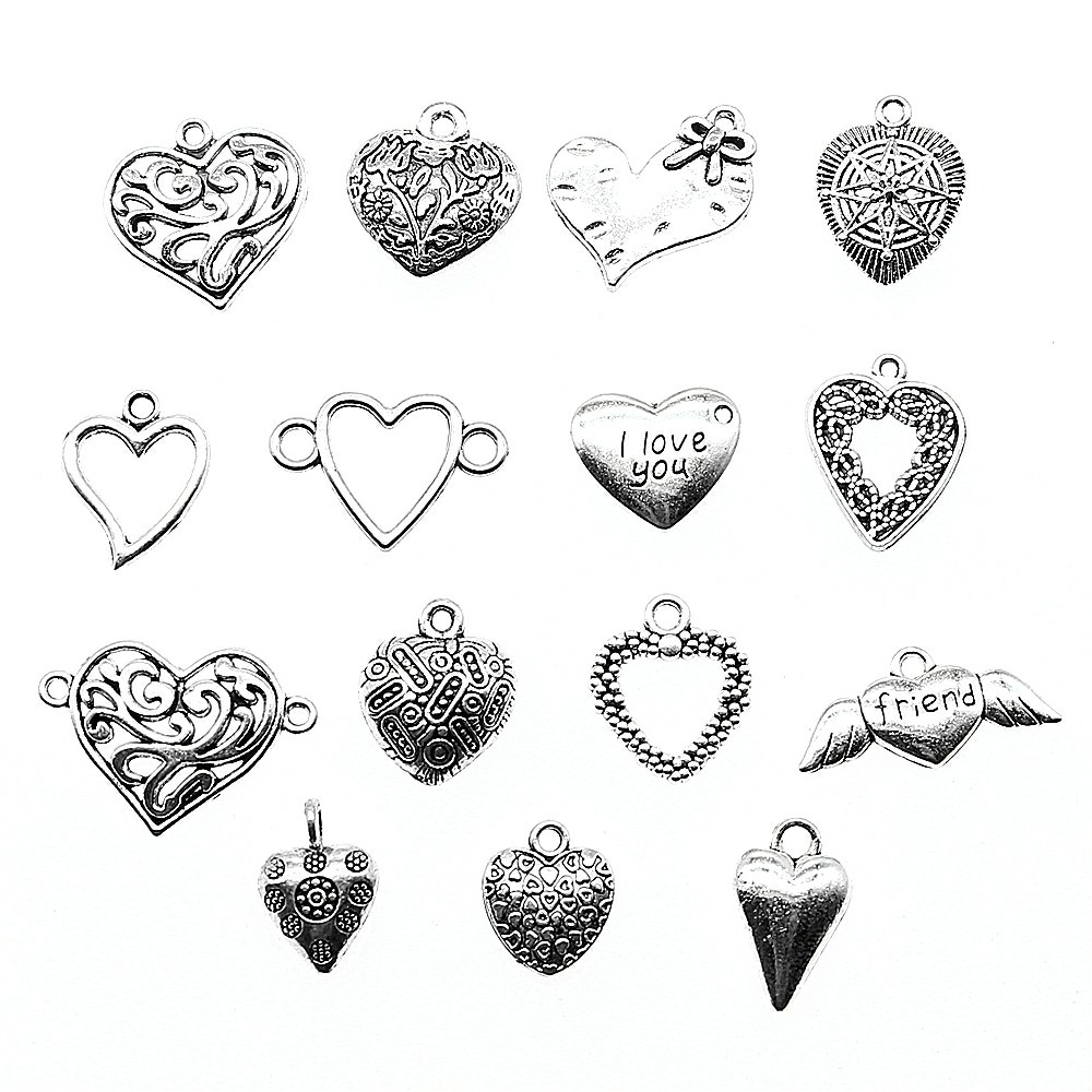 10pcs Antique Silver Color Heart Pendants Jewelry Accessories Small Heart For DIY Jewelry Making Charm jewelry making