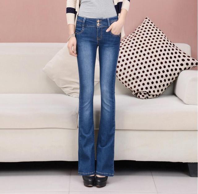 c9dfc4ac695 2019 New Fashion Autumn High Waist Flare Jeans Pants Plus Size Stretch  Skinny Jeans Women Wide Leg Slim Hip Denim Boot Cuts