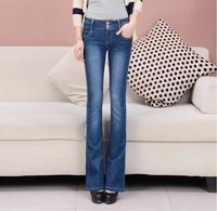 2019 New Fashion Autumn High Waist Flare Jeans Pants Plus Size Stretch Skinny Jeans Women Wide Leg Slim Hip Denim Boot Cuts