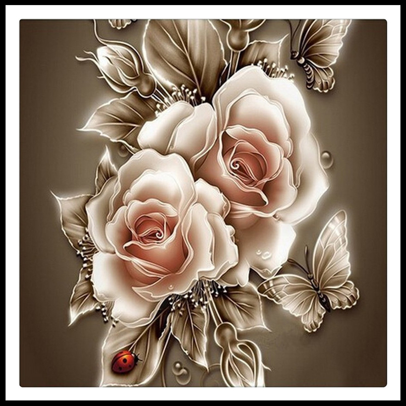 3D Rhinestone Painting Crystal Home Decor DIY Diamond Painting Rose &Butterfly Cross Stitch Pattern Diamond Embroidery