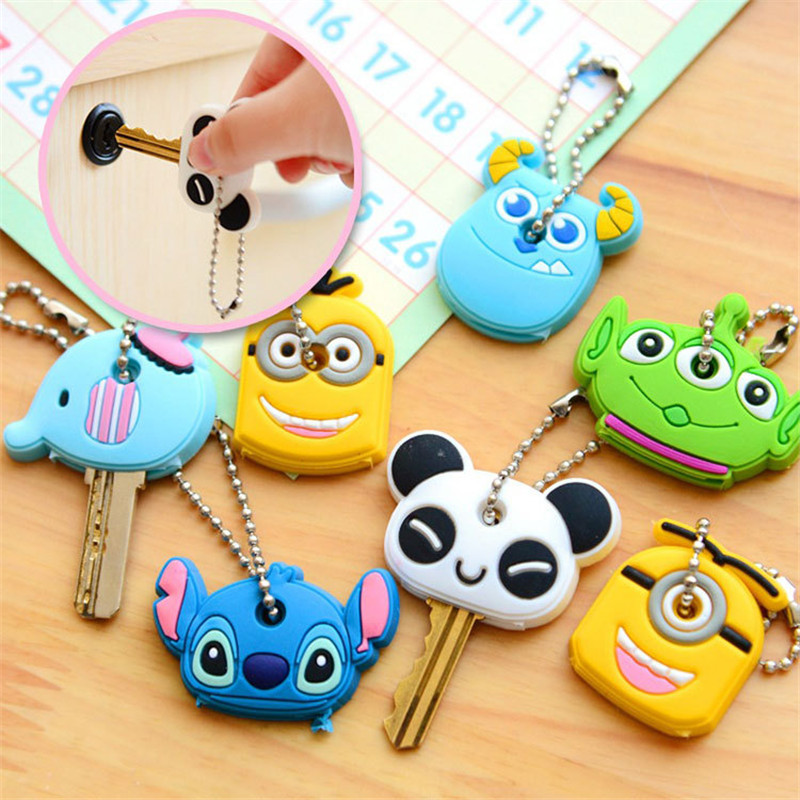 1PCS-Cute-Cartoon-Elephant-Keychain-Silicone-Stitch-Minion-Key-Cover-Key-Caps-Key-Chains-Key-Ring