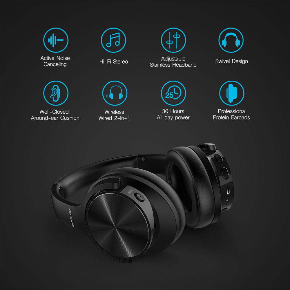 Mixcder E9 Active Noise Cancelling Wireless Headphones Bluetooth 5.0 Headset With Mic Super Deep Bass For PC Mobile Phone