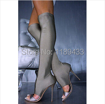 New Women Summer Mesh Sandals Shoes Fashion Thigh High Elastic Stain Silk Slim High Heel Sandal Boots women ultrathin lace top sheer thigh high silk stockings fashion style new gh