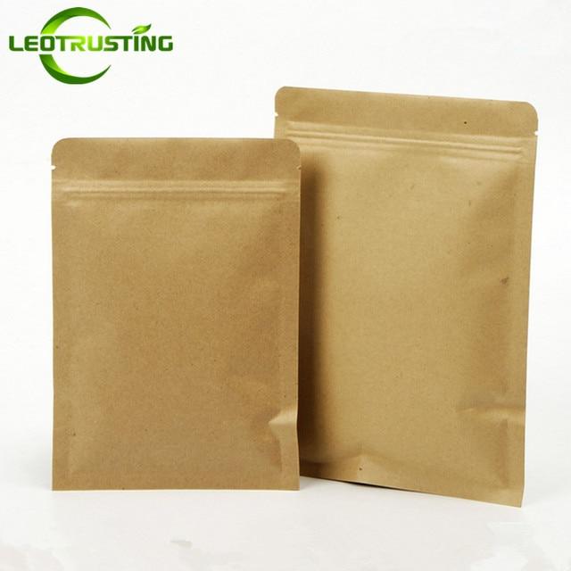 100pcs Flat Kraft Paper Zip Lock Gift Packaging Bag Capsule Nuts Grain Spice Corn Powder Chocolate Ground Coffee Paper Gift Bags