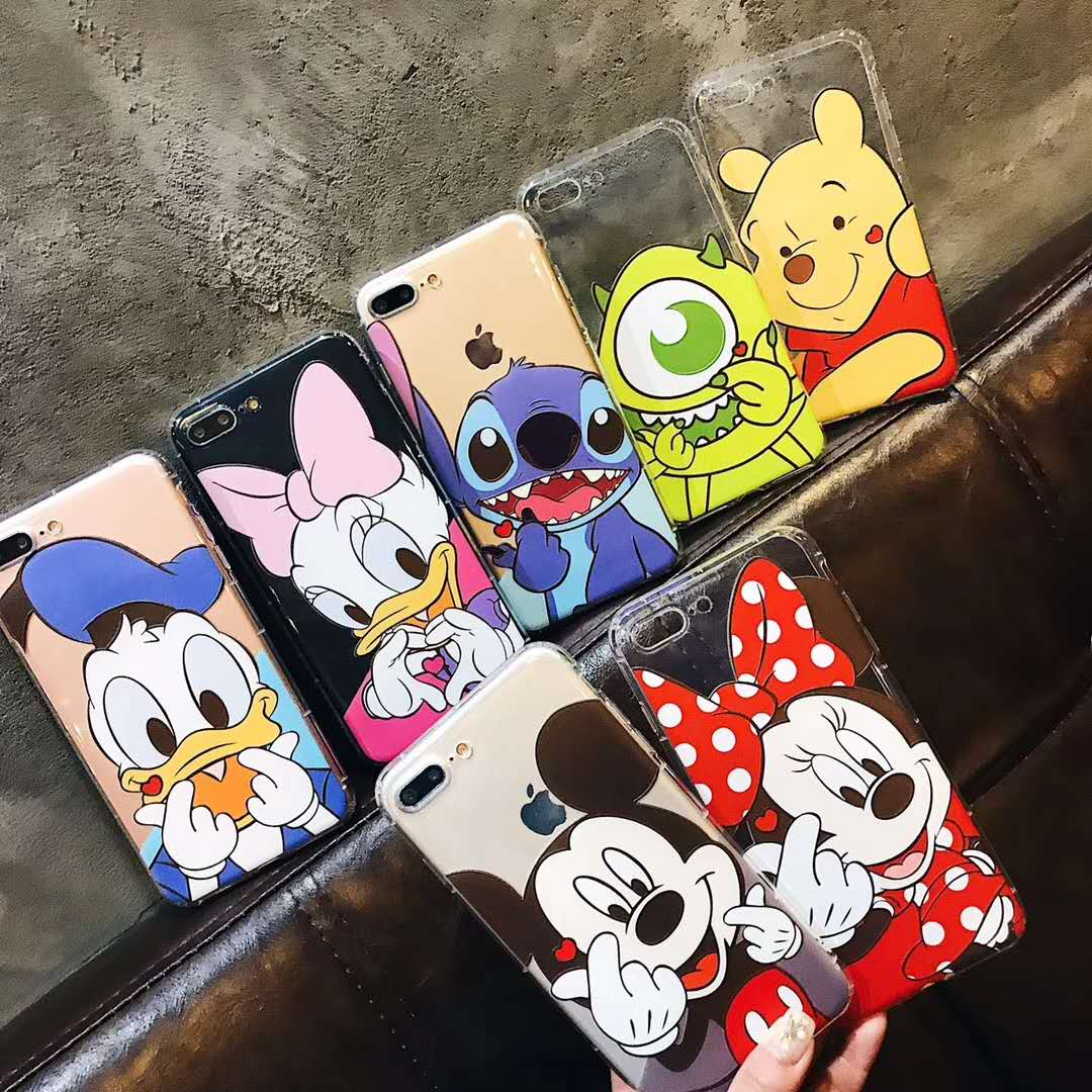 For iPhone X Mickey Mouse Minnie Soft back phone Case for iPhone 6 6S plus 7 7plus 8 8plus Cartoon Shockproof transparent cover