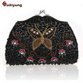 New Design Vintage Beads Embroidery Women Evening Bags Fashion Hand-beaded Butterfly Flower Day Clutches Bag Handbag For Ladies