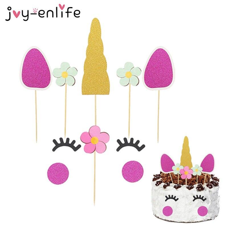 JOY ENLIFE 1pcs Unicorn Party Cake Topper Baby Shower Birthday Kids Children Decoration Unicornio Supplies