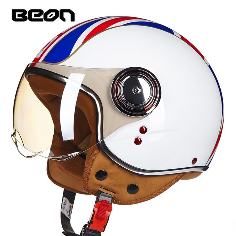 Cascos de motocicleta BEON vintage Casco Jet ruby Engranajes de protección 3/4 medio casco Scooter B110B ECE DOT cara abierta capacete