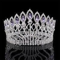Lujoso cristal brillante barroco reina rey boda tiara del desfile prom diadema headpiece nupcial Bisutería para pelo accesorios