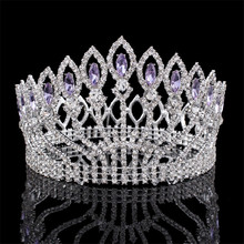 2017 New Luxury Silver Plated Crystal Baroque Queen King Wedding Tiara Crown Pageant Diadem Tiaras women Hair Jewelry accessory