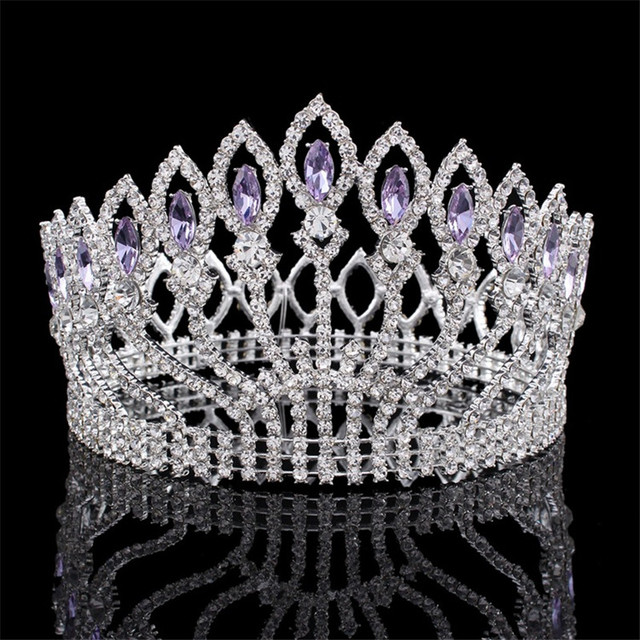 New Luxury Sparkling Crystal Baroque Queen King Wedding Tiara Crown Pageant Prom Diadem Tiaras For Women