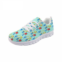 NOISYDESIGNS Men Flats Shoes Casual Men Sneakers Cartoon Cute Cleaners Pattern Comfortable Air Mesh Shoes for Teenage Boys Male
