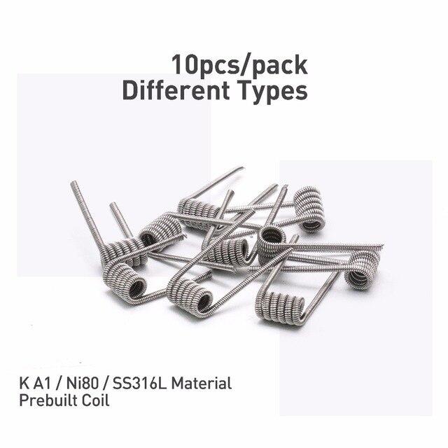 , Volcanee 10pcs Ni80 Coil SS316L Alien Fused Clapton Heating Wire for Electronic Cigarette Liquid Cotton RDA RTA Tank Vape Coil