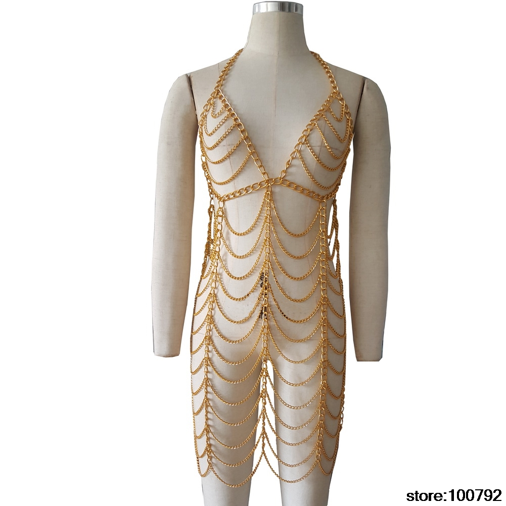Gold Chain Drag Queen Race Costumes Festival Burning Man Clothes Performance Dance Wear Singer Stage Outfit Night Club Dresses