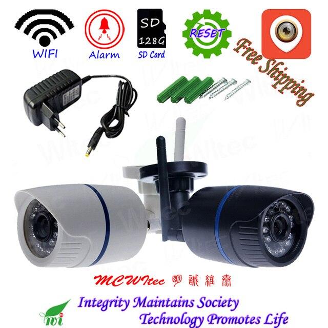 Kamera Wifi wodoodporna 128G karta SD kamera IP 1080P IR ONVIF bezpieczeństwo ruch humanoidalny Alarm P2P Cam Reset bezprzewodowa chmura