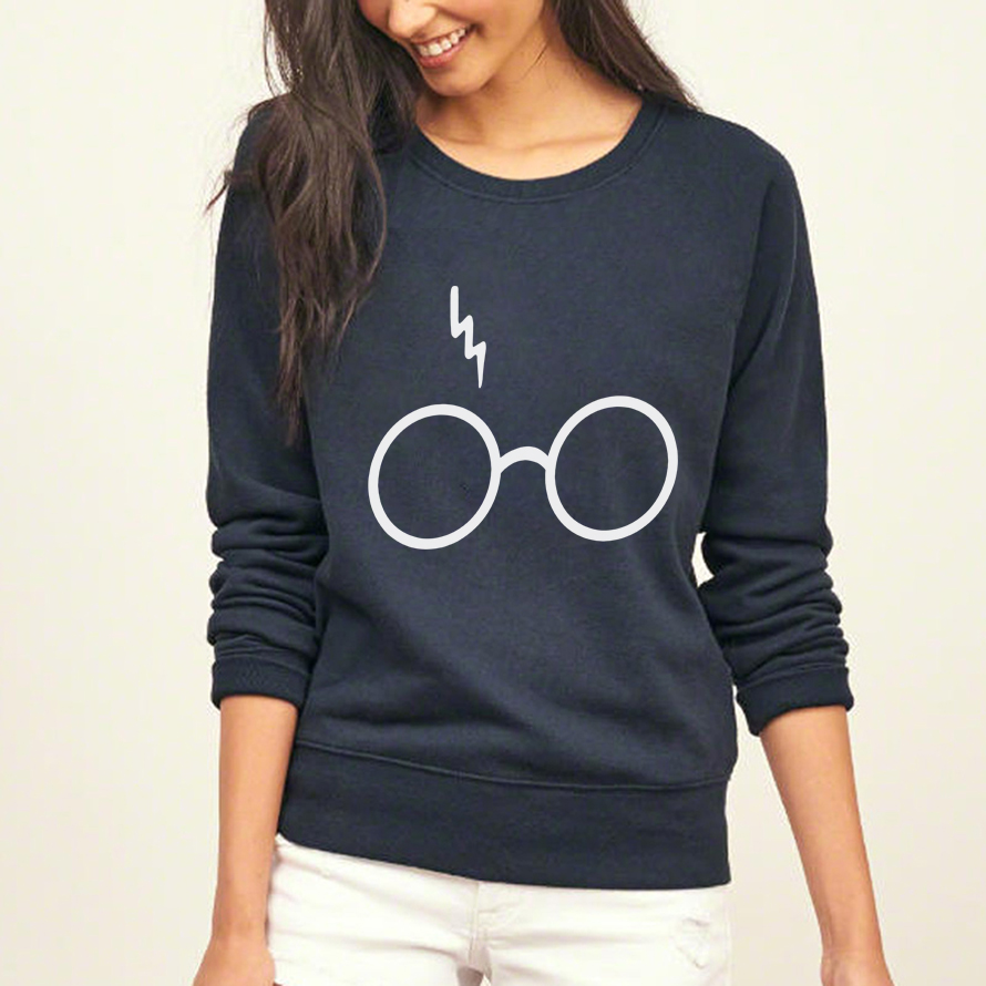 Kawaii Glasses Lightning hoodies women harajuku fitness streetwear sweatshirt 2017 female autumn brand tracksuit pp