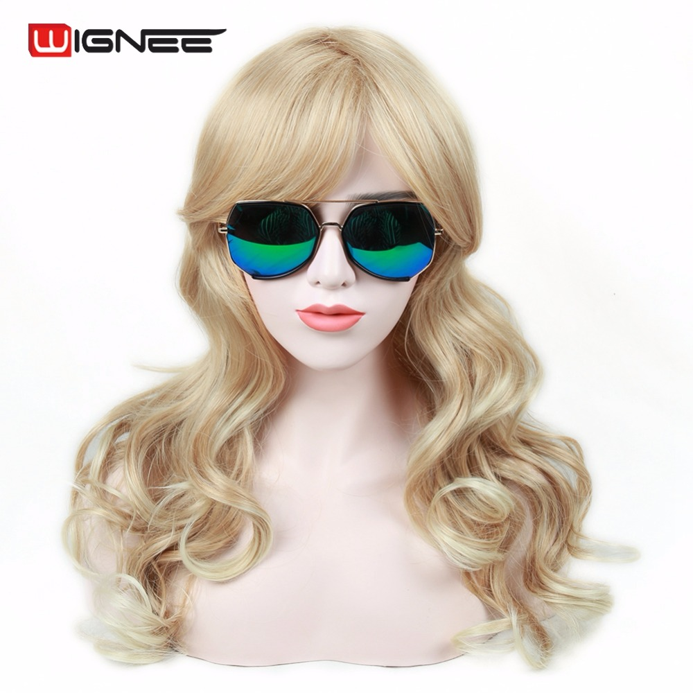 Wignee 24 Mixed Color Ash Blonde High Density Temperatre Synthetic Wig For White Women Glueless Cosplay Fake Hair Wavy Wig