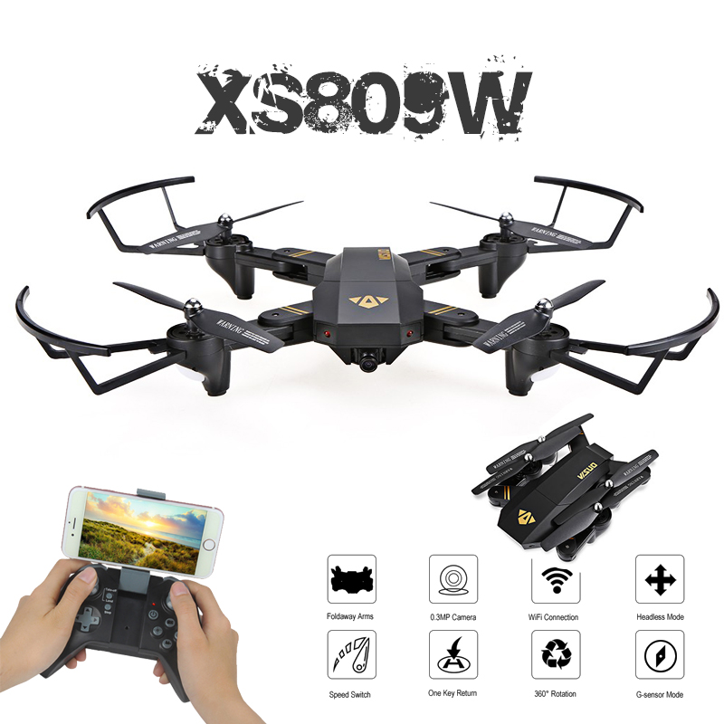 Visuo XS809W XS809HW Mini Foldable Selfie Drone with Wifi FPV 0.3MP or 2MP Camera Altitude Hold & Headless Mode Quadcopter jjrc h12wh wifi fpv with 2mp camera headless mode air press altitude hold rc quadcopter rtf 2 4ghz