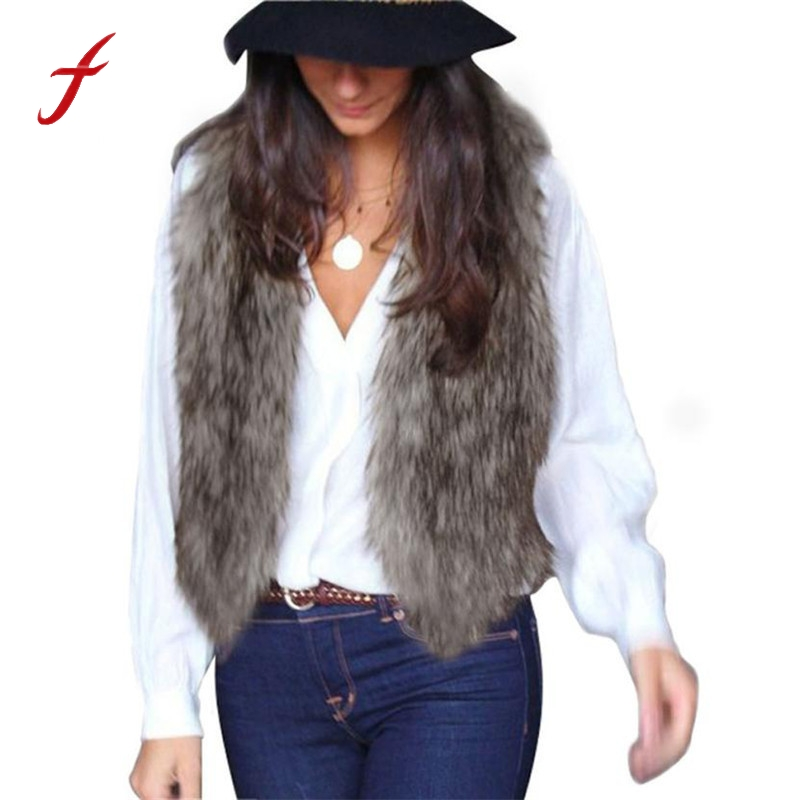 FEITONG Brand Design Women jackets Fashion Vest Sleeveless Coat Outerwear Long Hair Jacket Waistcoat Winter Warm Faux fur coats