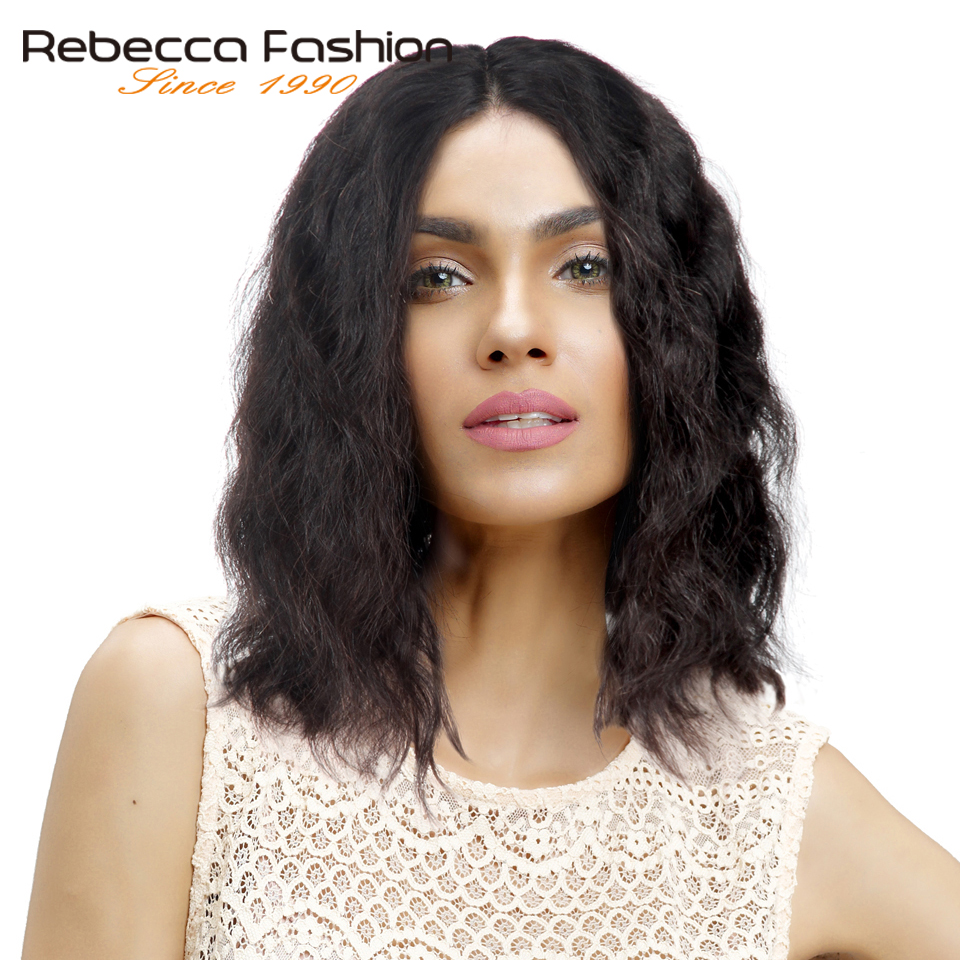 Rebecca Short Lace Front Human Hair Wigs For Black Women Peruvian Remy Wavy Wave Bob Wig Natural Color 10-14 Free Shipping