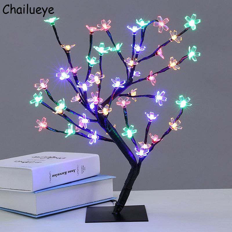 Luminarias LED Cherry Blossom Tree Branches Night Lights Holiday Lighting Table Lamps Bedroom Party Wedding Indoor Home Decor