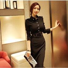 2017 ربيع المرأة فستان طويل كم كامل فساتين الصلبة الأسود 666