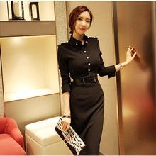 2017 Spring Women Long dress Full Sleeve Solid Dresses Black 666