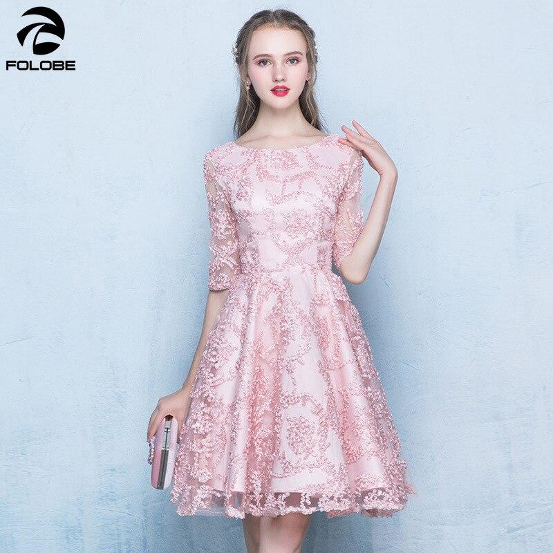 FOLOBE élégant rose kaki femmes genou longueur robes Appliques robes solides Sexy fête femme robes 2019