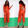 2016 Autumn Womens 2 Pieces Sets Long Sleeve Crop Top With Cropped Wide Leg Pants Backless Casual Women Two Piece Outfits Hot