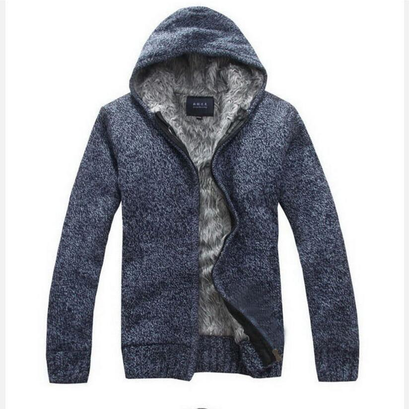 Winter Warm Sweatercoats Men Outwear Thicker Warm Hooded Sweater New Fashion Men Cardigan Casual Sweater Coats
